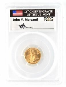 2018 American $5 Gold Eagle PCGS MS70 First Day Of Issue Bullion Coin J Mercanti
