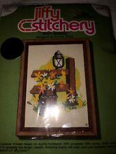 New listing Vtg Sunset Designs Jiffy Stitchery Crewel Embroidery Kit Rain Barrel 268 Nip