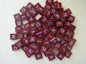 Burgundy Scrabble Deluxe Letter Tiles w/White Lettering Complete Set of 100