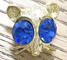 Vintage NEMO Mouse Head Faceted HUGE Blue Eyes Pin Brooch ESTATE JEWELRY