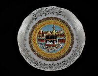 Rare plat orientaliste en porcelaine de Chavigny- autour de la kaaba à la mecque