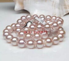 "ROUND AAAAA 17""10-11MM REAL natural south sea pink lavender pearl necklace 14K"
