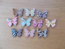 10 nuevas al azar mixtos patrón mariposa en forma de botones madera manualidades de costura