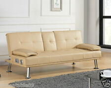 Sofa Bed Faux Leather Cupholder 3 Seat Cream Chrome Legs Home Office Kids Room