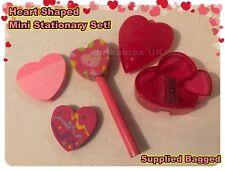 Fun Kids Heart Shaped Stationary Set - Rubber, Pen, Pencil & Sharpener - New