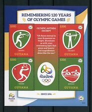 Guyana 2016 MNH Olympic Games Rio 2016 4v M/S I Boxing Rowing Olympics Stamps