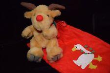NEW Vintage Harrods Reindeer w/Christmas Goose Goodie Bag Stuffed Animal Toy Red