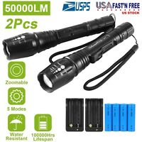 Rechargeable 50000LM 2x T6 LED Tactical Military LED Flashlight Torch 18650