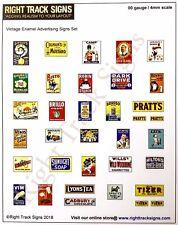 00 gauge Vintage enamel advertising signs, Station advertising posters, platform