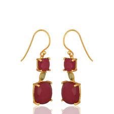 Ruby And Peridot Gemstone Dangle Earrings 925 Silver Handmade Jewelry