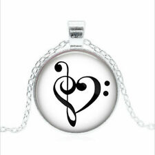 Bass Clef Heart Tibet silver Glass dome Necklace chain Pendant Wholesale
