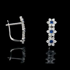 1Ct Created Diamond Blue Sapphire Leverback Flower Earrings 14k White Gold