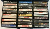 Lot of 30 Vtg 80s Hard Rock Cassette Tapes in Carry Case AC/DC Iron Maiden CRUE