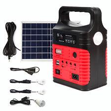 Red Portable Solar Generator Solar Panel Solar Power Inverter Electric Light USB