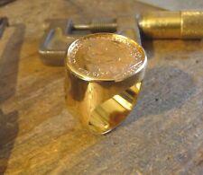 Chevalière or ronde avec pièce or 20 Francs Coq