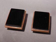 ANTIQUE EDWARDIAN 10K SOLID ROSE GOLD & BLACK AGATE COLLAR SHIRT BUTTONS,PR(2)