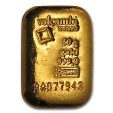 50 gram Gold Bar - Valcambi (Poured w/Assay) - SKU #83921