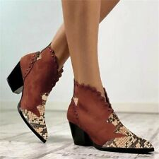 Womens Snake Print Stitching Plus Size Bootie Casual Pointed Block Heel Boots