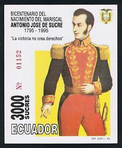Ecuador Leaf Block 99 1995 Bicentenary Birth of Marshal Antonio Jose D