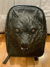 3D Studded Wolf Black Leisure Bag Backpack Traveling Bag Bookbag PU Leather