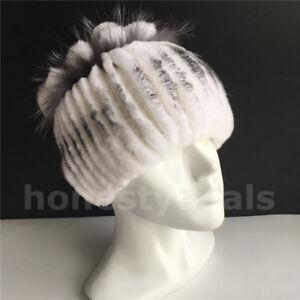 Real Rabbit Fur Hat Stretch Winter Fur Head Wrap Knitted Cap Beanie Hat /White