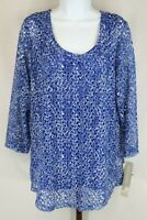 JM Collection Womens Ladies Blue Paisley 2 Pc 3/4 Sleeve Scoop Neck  Size XL NWT