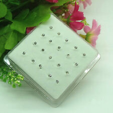 Wholesale 20X Solid Sterling silver White Crystal 2MM Straight Bar Rod Nose Stud