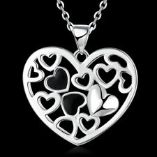 Fashion 925 Silver plated Jewelry Heart Pendants Necklace For Women N791
