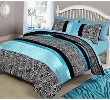 Full Queen Animal Print Comforter Set Zebra Print Girls Teen Bedding Dorm Blue