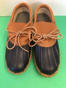 LL Bean Boot Women's Size 6 Navy Rubber & Leather Moc EUC Rain Mud Shoe USA Made