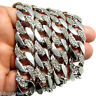 """Hip Hop Chain 30"""" Cuban Link Silver Tone 14 mm Wide Mens Iced-Out Bling Necklace"""