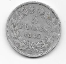 5 Francs  Louis Philippe I Tête laurée 1843 - BB -Tranche relief - STRASBOURG
