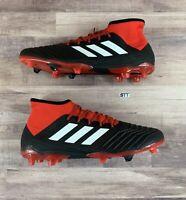 Adidas Predator 18.2 FG Soccer Shoes Black White Red Cleats DB1999 Men's Size 12
