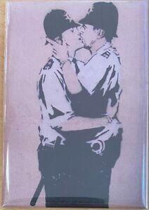 Banksy Kissing Coppers Fridge Magnet