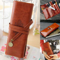 Retro Leather Rolls Pencil Case Women Make Up Pen Brush Cosmetic Storage Pouch