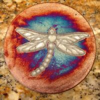 Dragonfly Coaster Raku Pottery, handmade, handsigned - NEW