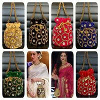 Designer Blue Potli Bag Velvet Drawstring Pouch Crystal Clutch Indian Party Bag