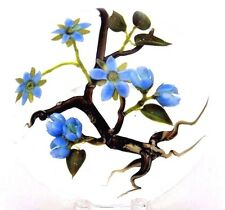 CHARMING Jim D'ONOFRIO  Blue Blooming FLOWERS Tree Roots Art Glass PAPERWEIGHT