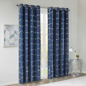 Chic Navy Blue Geometric Metallic Silver BLACKOUT Window Panel