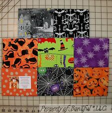 BonEful Fabric COTTON QUILT LOT Orange Black White B&W Halloween Cat Skull Toile