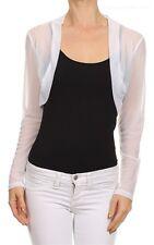 New Women Sheer Mesh Chiffon Long Sleeves Bolero Shrug opened Cropped Cardigan