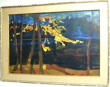 Theodore Anagnostarus  Framed Oil Painting Tranquil Water Scene w/ Trees