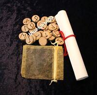 24 Runen + 1 Odin Rune + Leer Rune aus Holz - Energie in Handarbeit + Anleitung