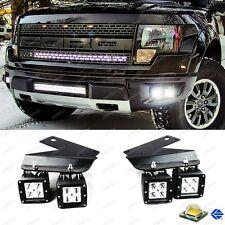 Fit 2010-14 Ford Raptor 80W 4pc CREE LED Fog Light Kit + Bumper Mounting Bracket