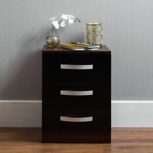 Hulio 3 Drawer Chest High Gloss Wood Bedroom Storage Furniture Black & Walnut