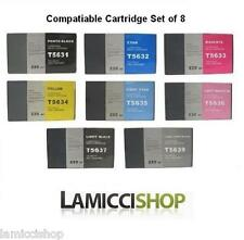 Wide Format Ink 8 Cartridges Set Compatible for Epson Stylus Pro 7800 9800 New