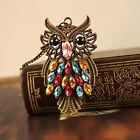 Fashion Vintage Colorful Rhinestone Bronze Owl Pendant Necklace Chain Jewelry CA