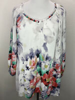 Women's Sami & Jo 2X Watercolor Floral 3/4 Sleeve Tunic Top Blouse Plus Size