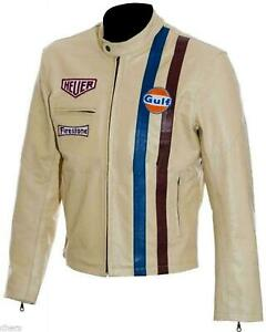 Men's Steve McQueen Le Mans Gulf Racing Style Leather Jacket With Free Shipping