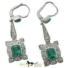 Magnificent Antique Columbian Emerald and Diamond Drop Earrings, 5.5 TCW